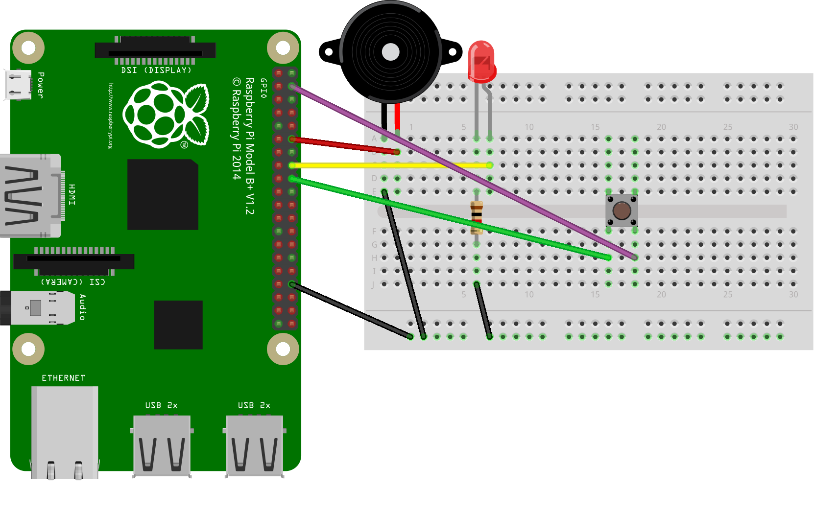 RPi Node-Red: Push Button + LED Or Buzzer