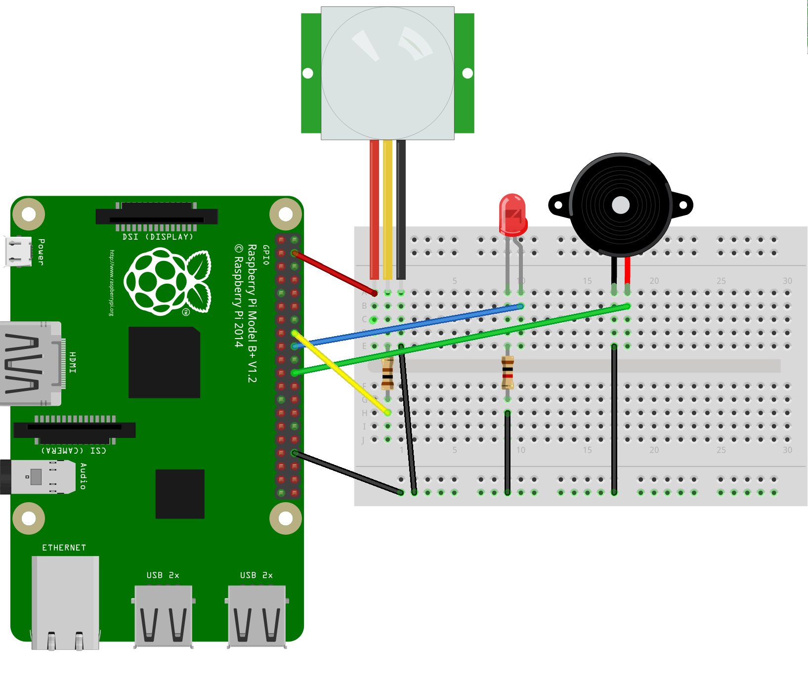 RPi Node-Red: PIR + RGB LED Or Buzzer