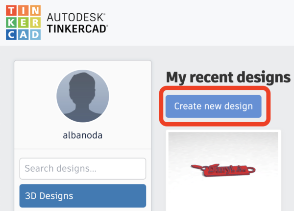 Create a new design on TinkerCAD
